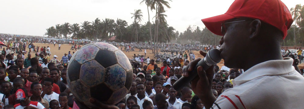 Addressing a crowd with The Ball